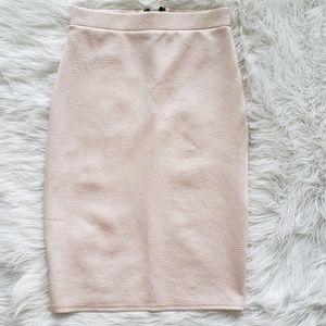 Dresses & Skirts - Blush Pink Textured Bodycon Pencil Skirt UK 10
